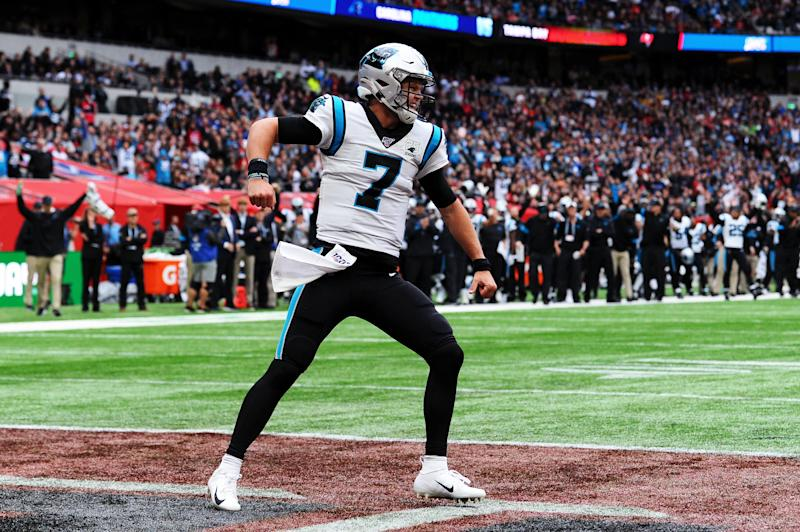 LONDON, ENGLAND - OCTOBER 13: Kyle Allen of Carolina Panthers celebrates during the NFL match between the Carolina Panthers and Tampa Bay Buccaneers at Tottenham Hotspur Stadium on October 13, 2019 in London, England. (Photo by Alex Burstow/Getty Images)