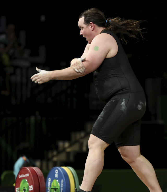 New Zealand's Laurel Hubbard reacts after injuring her arm in the snatch during the women's +90kg weightlifting final at the 2018 Commonwealth Games on the Gold Coast, Australia, Monday, April 9, 2018. (AP Photo/Mark Schiefelbein)