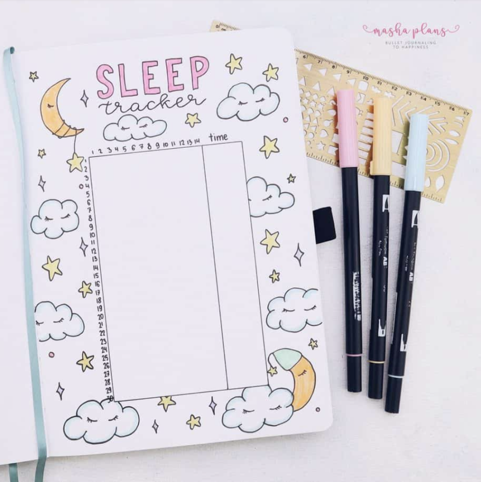 """<p>Those of us who don't sleep well know how important shut-eye is to, well, everything. Using your bullet journal to keep track of how much sleep you get helps you notice any patterns that emerge. This adorable <a href=""""https://mashaplans.com/bullet-journal-page-ideas-ultimate-list/"""" rel=""""nofollow noopener"""" target=""""_blank"""" data-ylk=""""slk:design by Masha Plans"""" class=""""link rapid-noclick-resp"""">design by Masha Plans</a> makes it fun. </p>"""