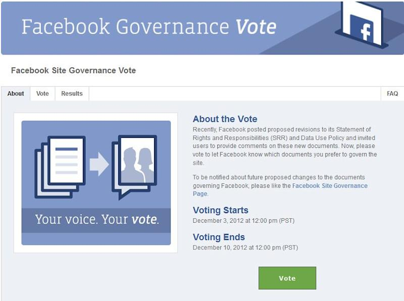 To vote, users have to use an app, then select 'Existing policy' rather than 'Proposed policy'. (Image: Facebook)
