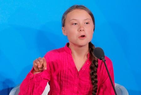 FILE PHOTO: 16-year-old Swedish Climate activist Greta Thunberg speaks at the 2019 United Nations Climate Action Summit at U.N. headquarters in New York City, New York, U.S.