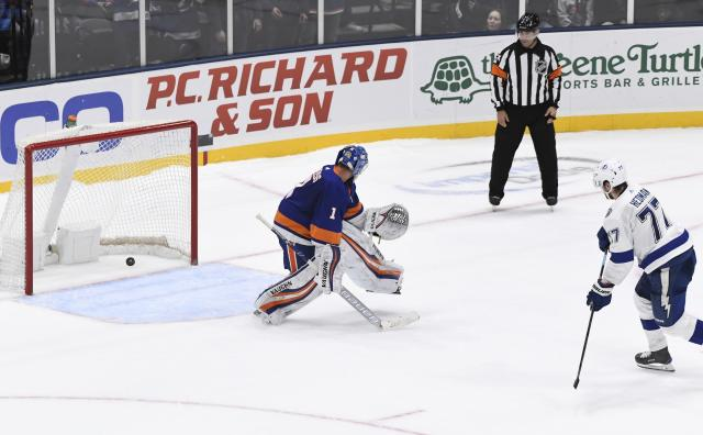 Tampa Bay Lightning's Victor Hedman (77) scores past New York Islanders goaltender Thomas Greiss (1) during the shootout in an NHL hockey game Friday, Feb. 1, 2019, in Uniondale, N.Y. The Lightning won 1-0. (AP Photo/Kathleen Malone-Van Dyke)