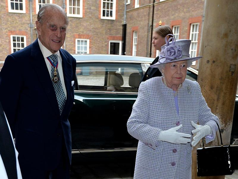 Queen Elizabeth, right, and Prince Philip, the Duke of Edinburgh arrive at Chapel Royal in St James's Palace, - Credit: John Stillwell/Pool Photo via AP