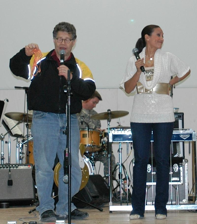 Franken and Tweeden performing a USO skit in Mosul, Iraq, Dec. 16, 2006. (Spc Creighton Holub)