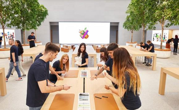 An Apple retail location in Milan, Italy.
