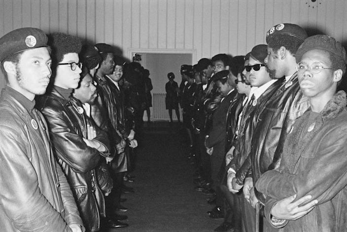 Members of the Black Panther Party on USA, April 19, 1969. (Photo by Jean-Pierre Laffont/Michael Ochs Archives/Getty Images)