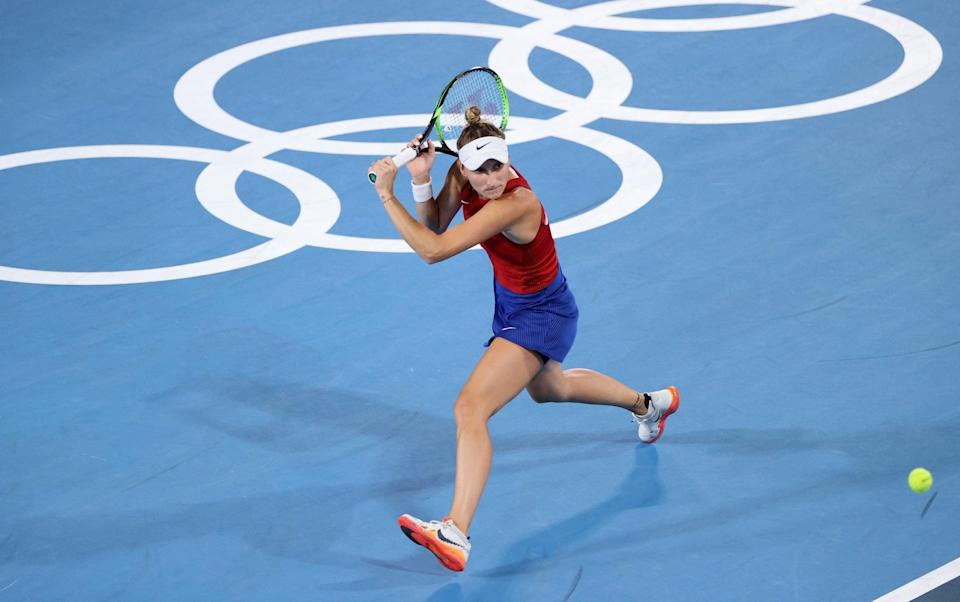 Marketa Vondrousova of Team Czech Republic plays a backhand during her Women's Singles Third Round match against Naomi Osaka of Team Japan on day four of the Tokyo 2020 Olympic Games at Ariake Tennis Park on July 27, 2021 in Tokyo - GETTY IMAGES