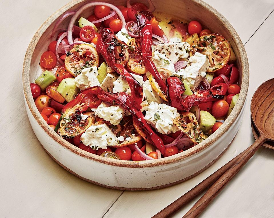 "The method for marinating the feta is also a good trick for other fresh cheeses—try goat, mozzarella, or paneer. <a href=""https://www.bonappetit.com/recipe/new-and-improved-greek-salad?mbid=synd_yahoo_rss"" rel=""nofollow noopener"" target=""_blank"" data-ylk=""slk:See recipe."" class=""link rapid-noclick-resp"">See recipe.</a>"