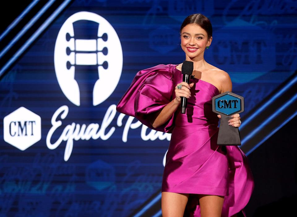 UNSPECIFIED - OCTOBER 21: In this image released on October 21, Sarah Hyland speaks onstage for the 2020 CMT Awards broadcast on Wednesday October 21, 2020. (Photo by Rich Fury/CMT2020/Getty Images for CMT)