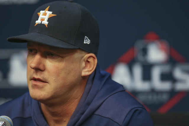 "<a class=""link rapid-noclick-resp"" href=""/mlb/teams/houston/"" data-ylk=""slk:Houston Astros"">Houston Astros</a> manager A.J. Hinch had some thought before ALCS Game 4 about claims of stealing signs by the <a class=""link rapid-noclick-resp"" href=""/mlb/teams/ny-yankees/"" data-ylk=""slk:New York Yankees"">New York Yankees</a>. (Thomas B. Shea/USA TODAY Sports)"