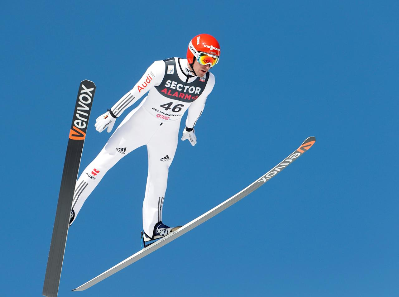REFILE - ADDING RESTRICTIONS  Skiing -  Holmenkollen FIS World Cup Nordic - Nordic Combined ski jumping - Oslo, Norway - 11/03/2017.  Bjoern Kircheisen of Germany competes.  NTB Scanpix/Terje Bendiksby/via REUTERS   ATTENTION EDITORS - THIS IMAGE WAS PROVIDED BY A THIRD PARTY. FOR EDITORIAL USE ONLY. NORWAY OUT. NO COMMERCIAL SALES.