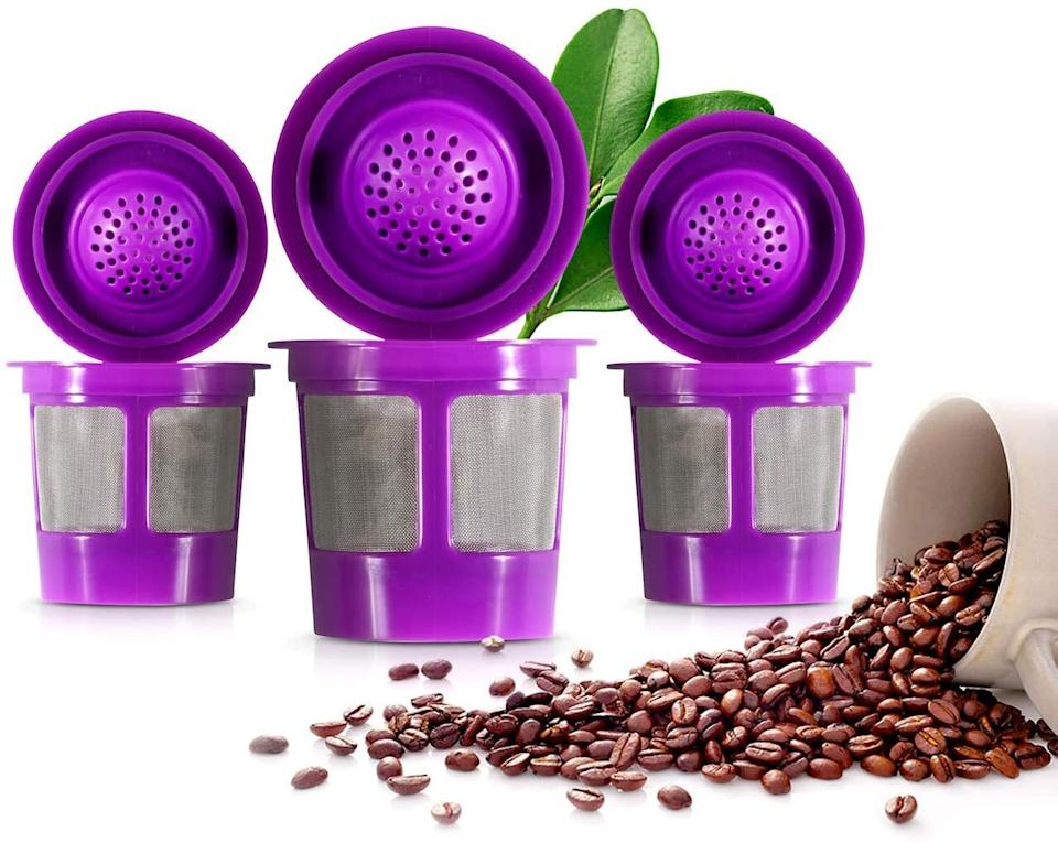 """Youcan fill them with your favorite ground brew and then toss in your K-cup machine like normal. This'll put a halt to tons of plastic pod waste, both for the environment and your fam's monthly budget.<br /><br /><strong>Promising review:</strong>""""These reusable filter cups work PERFECTLY with our Keurig Elite B-40 model. Usually we use K-cups, but we received a bag of ground coffee as a gift. We attempted to use our old reusable filter cup that we'd had for an old model Keurig, and it just created a mess and left tons of grounds in the cup. Amazon delivered these K&J cups in a day and they solved the problem. The bottom and sides are mesh, which was not true on my old reusable filter cup, and<strong>the little lid snaps shut snugly</strong>. They come four to a pack, but I don't see using the others until the one I'm using wears out. Very easy to clean also. So happy to find these!!!"""" — <a href=""""https://www.amazon.com/gp/customer-reviews/R26ZCY2CC6AU8J?ASIN=B0728JN794&ie=UTF8&linkCode=ll2&tag=huffpost-bfsyndication-20&linkId=85448c3bb228adde0c8179b147678769&language=en_US&ref_=as_li_ss_tl"""" target=""""_blank"""" rel=""""noopener noreferrer"""">Jamie von Holstein</a><br /><br /><strong><a href=""""https://www.amazon.com/Reusable-K-Cups-Compatible-Keurig-Machines/dp/B0728JN794?&linkCode=ll1&tag=huffpost-bfsyndication-20&linkId=75a9d7f2ac8ac683f451ff31faec83e0&language=en_US&ref_=as_li_ss_tl"""" target=""""_blank"""" rel=""""noopener noreferrer"""">Get a pack of four from Amazon for $9.95.</a></strong>"""