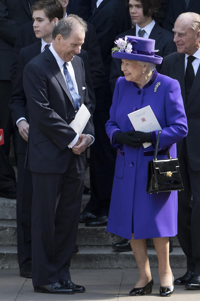 <p>Queen Elizabeth chose a deep purple ensemble for a service at Westminster Abbey.<br /><i>[Photo: PA]</i> </p>