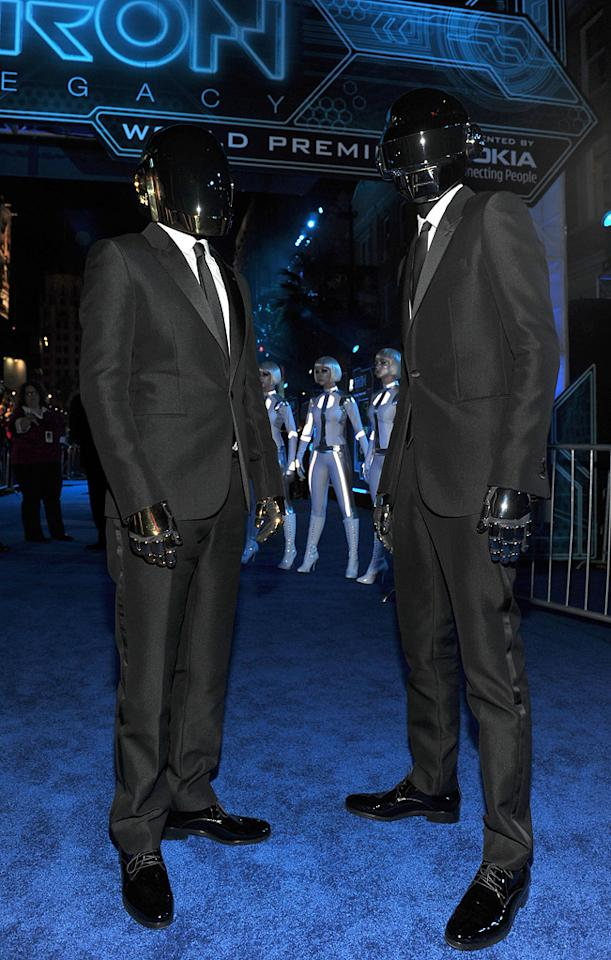 """<a href=""""http://movies.yahoo.com/movie/contributor/1800413261"""">Daft Punk</a> attends the Los Angeles premiere of <a href=""""http://movies.yahoo.com/movie/1810096458/info"""">TRON: Legacy</a> on December 11, 2010."""