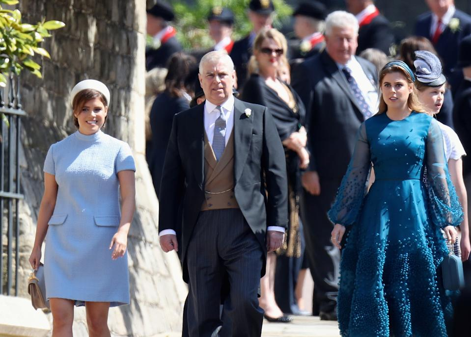 Prince Andrew with daughters Eugenie and Beatrice at the 2018 royal wedding. (Photo: Chris Jackson/Pool via REUTERS)