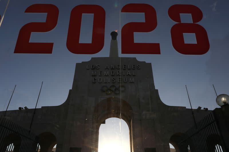 FILE PHOTO: An LA2028 sign is seen at the Los Angeles Coliseum to celebrate Los Angeles being awarded the 2028 Olympic Games, in Los Angeles