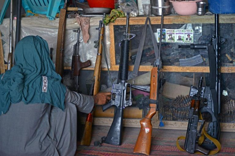 Weapons dealers in Panjwai, Kandahar province, are flush with inventory after the Taliban takeover of Afghanistan (AFP/JAVED TANVEER)