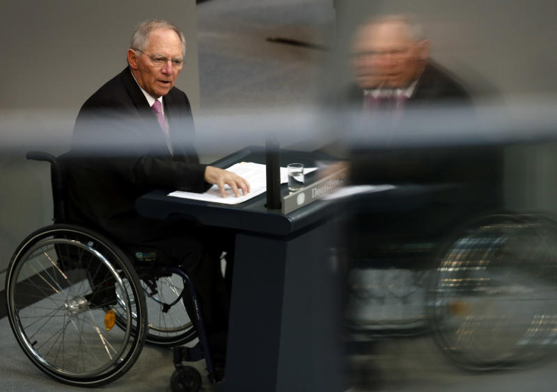 German Finance Minister Wolfgang Schaeuble gestures during his speech as part of a meeting of the German federal parliament, Bundestag, on Cyprus financial crisis in Berlin, Germany, Thursday, April 18, 2013. (AP Photo/Michael Sohn)