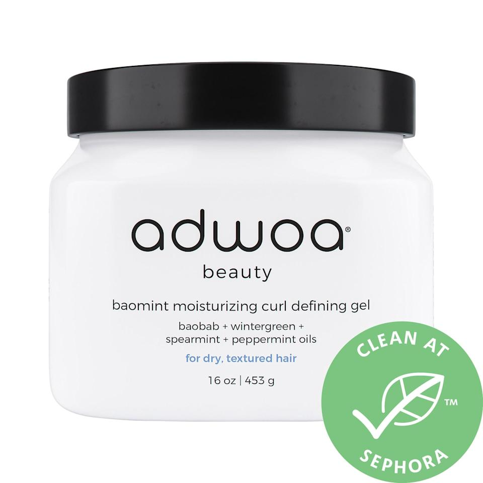 <p>The creamy <span>Adwoa Beauty Baomint Moisturizing Curl Defining Gel</span> ($32) helps lock in your curl pattern and defines waves with a range of oils (like prickly pear, pumpkin seed, and sweet almond) to keep hair soft and shiny, no blow dryer necessary.</p>