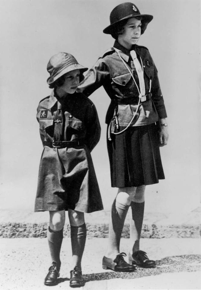 Princess Margaret on the left as a Brownie, in 1937, at about seven years old. (Getty Images)