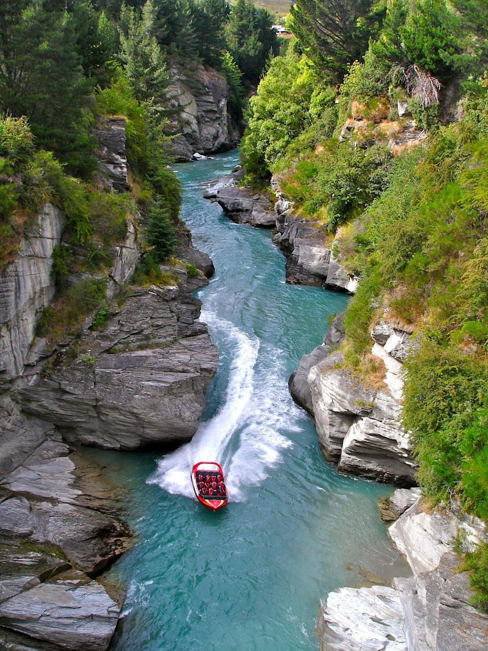 <p>You can take a jet boat through the winding scenic Shotover River in New Zealand.</p>