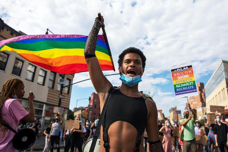 Demonstrators march in support of gay pride and black lives matter movements in New York City, New York, U.S., June 25, 2020.