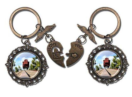 Valentine's Day key chains featuring a photo of a train car thatdeported Jews for extermination remained for sale on Sunday. (Photo: Amazon)