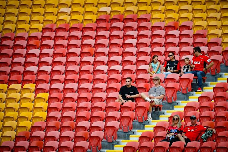 Sparse crowds watch the Super Rugby match between Japan's Sunwolves and New Zealand's Crusaders at Suncorp Stadium in Brisbane.