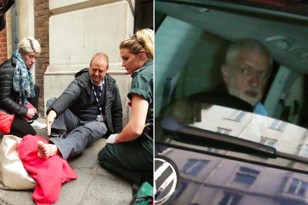 <p>Shortly after his party's manifesto was leaked, Jeremy Corbyn 's headache intensified significantly when the car he was in ran over a BBC cameraman's foot. (PA/Getty) </p>