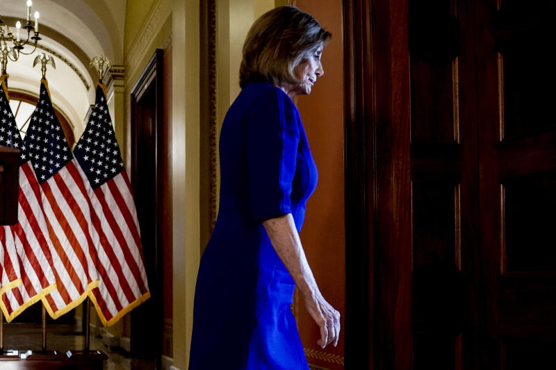 House Speaker Nancy Pelosi, D-Calif., steps away from a podium after reading a statement announcing a formal impeachment inquiry into President Donald Trump, on Capitol Hill in Washington, Tuesday, Sept. 24, 2019. (AP Photo/Andrew Harnik)