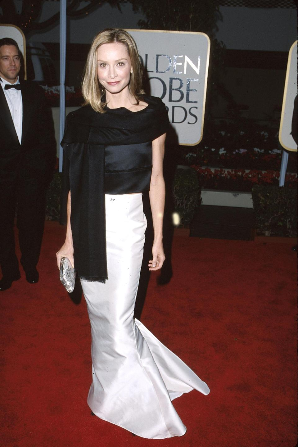 """<strong><h2>1999</h2></strong><br>Typically we'd shudder at the thought of a two-piece ensemble on the red carpet, but this Pamela Dennis black-and-white duo on Calista Flockhart has us making a special exception.<br><br><em>Calista Flockhart in Pamela Dennis.</em><span class=""""copyright"""">Photo: SGranitz/WireImage.</span>"""