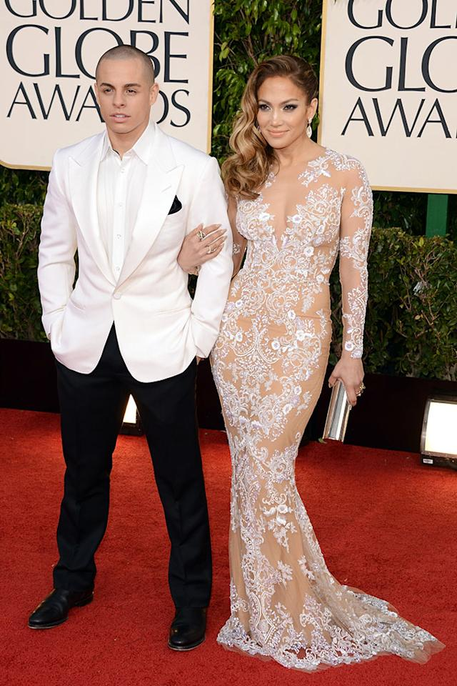 Casper Smart and Jennifer Lopez arrive at the 70th Annual Golden Globe Awards held at The Beverly Hilton Hotel on January 13, 2013 in Beverly Hills, California.