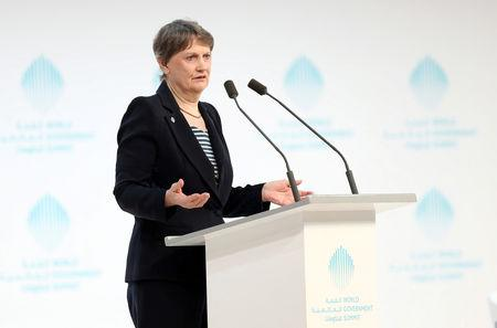 UNDP Director Helen Clark speaks during the World Government Summit in Dubai
