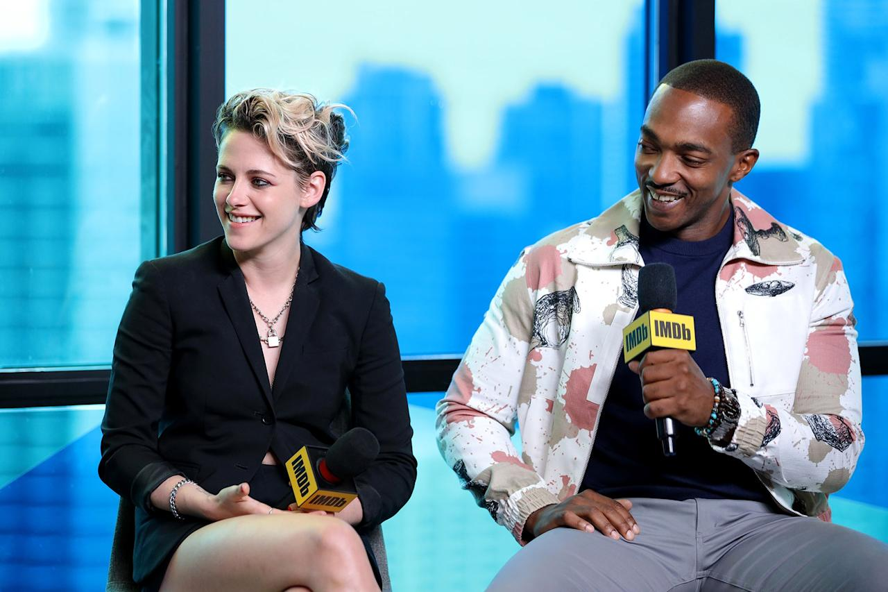 Kristen Stewart and Anthony Mackie speak about their film <em>Seberg</em> together during the Toronto International Film Festival on Friday.