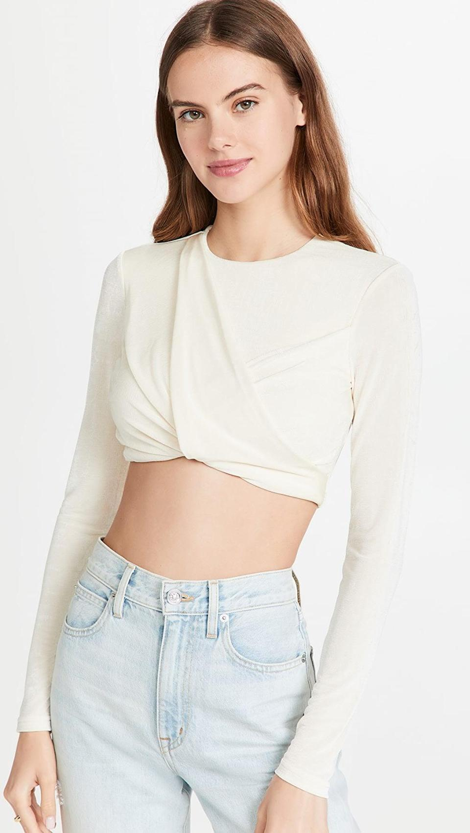 <p>I've been seeing long sleeve crop tops everywhere recently, and I'm excited to try the trend. This <span>Significant Other Evelyn Top</span> ($120) is a great going out top.</p>