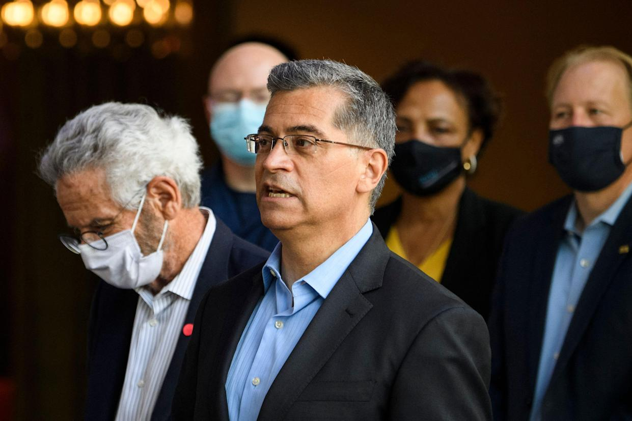 Xavier Becerra, Secretary of the US Department of Health and Human Services, speaks following a tour of an emergency intake site to care for the arrival of unaccompanied migrant children at the Long Beach Convention center on May 13, 2021 in Long Beach, California. (Patrick T. Fallon/AFP via Getty Images)