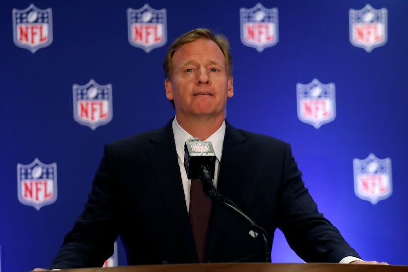 NFL commissioner Goodell speaks during a news conference following the NFL owners meeting in New York