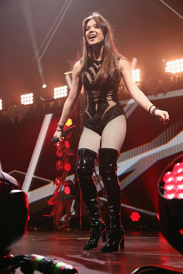 """<p>Hailee Steinfeld, 18, turned the heat up in a super sexy get up to perform hits from her debut EP.The """"Love Yourself"""" singer performed in a sheer bodysuit with cutouts and covered in glitter, fishnet stocking, and thigh-high patent leather boots.<i>Photo: Getty Images</i></p>"""