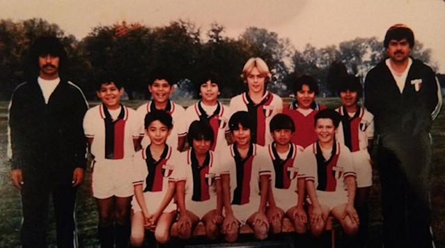 Jason Sehorn (top row, third from right) with his youth soccer team.