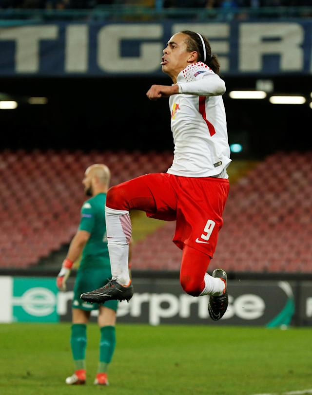 Soccer Football - Europa League Round of 32 First Leg - Napoli vs RB Leipzig - Stadio San Paolo, Naples, Italy - February 15, 2018 RB Leipzig's Yussuf Poulsen celebrates after Bruma scored their second goal REUTERS/Ciro De Luca