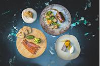 "<p>Fine dining at home is at its peak with Finish and Feast, which has a selection of menus on hand from some of the top chefs in the UK. This month, the spotlight is on the Great British Menu's Ruth Hansom, who has just launched her own <a href=""https://finishandfeast.com/collections/ruth-hansom"" rel=""nofollow noopener"" target=""_blank"" data-ylk=""slk:box"" class=""link rapid-noclick-resp"">box</a>. Inside you will find a three-course meal, including a starter of treacle cured sea trout, gherkin ketchup, homemade soda bread and cucumber pickles. If this wasn't enough, the main boasts a slow-braised neck of lamb served alongside minted gnocci, Jerusalem artichoke and juniper sauce. The finale? A deeply indulgent chocolate nemesis cake offset by crème fraîche and caramelised orange.</p>"