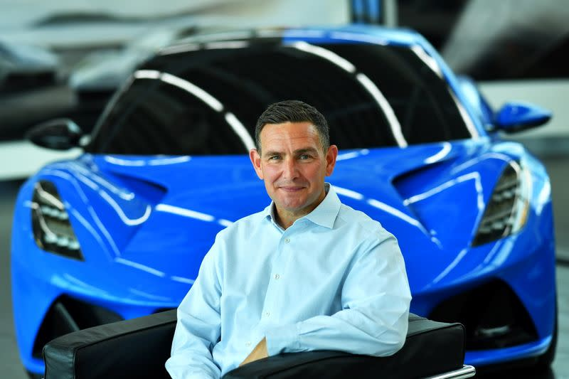 Managing Director of Lotus, Matt Windle sits in an Emira car at the company's plant in Hethel