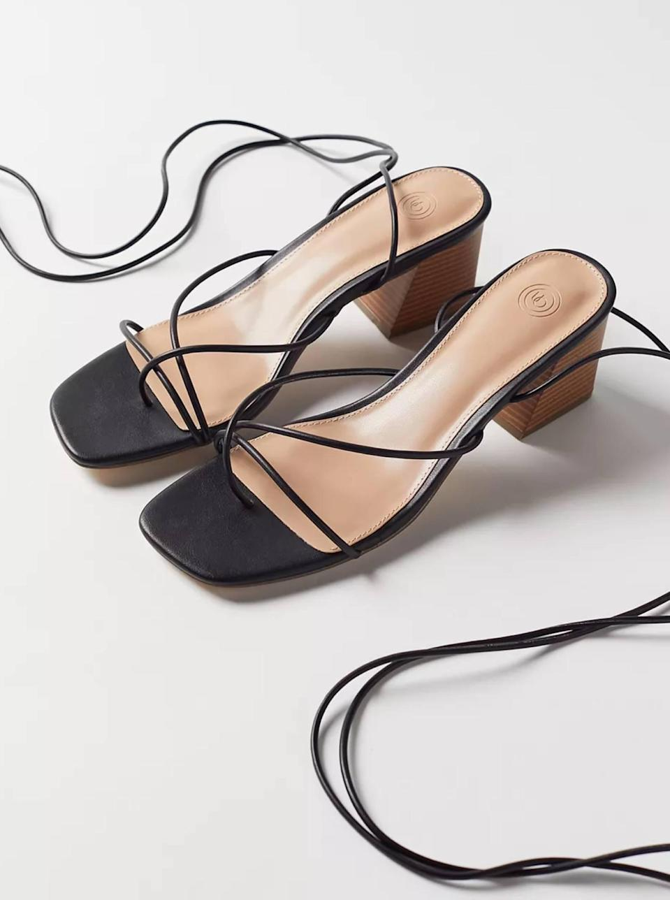 """$49, Urban Outfitters. <a href=""""https://www.urbanoutfitters.com/shop/uo-kendal-strappy-heeled-sandal?"""" rel=""""nofollow noopener"""" target=""""_blank"""" data-ylk=""""slk:Get it now!"""" class=""""link rapid-noclick-resp"""">Get it now!</a>"""