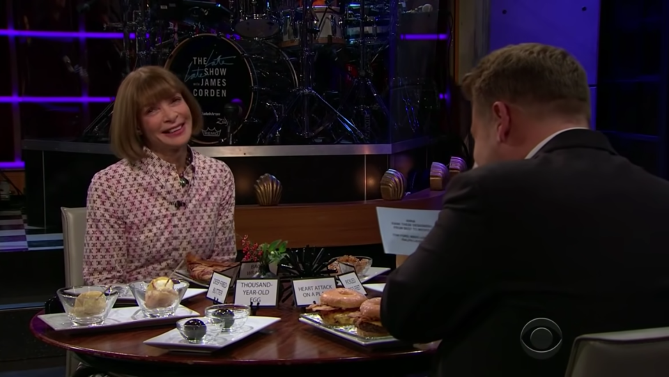 Anna Wintour appearing on 'The Late, Late Show with James Corden'