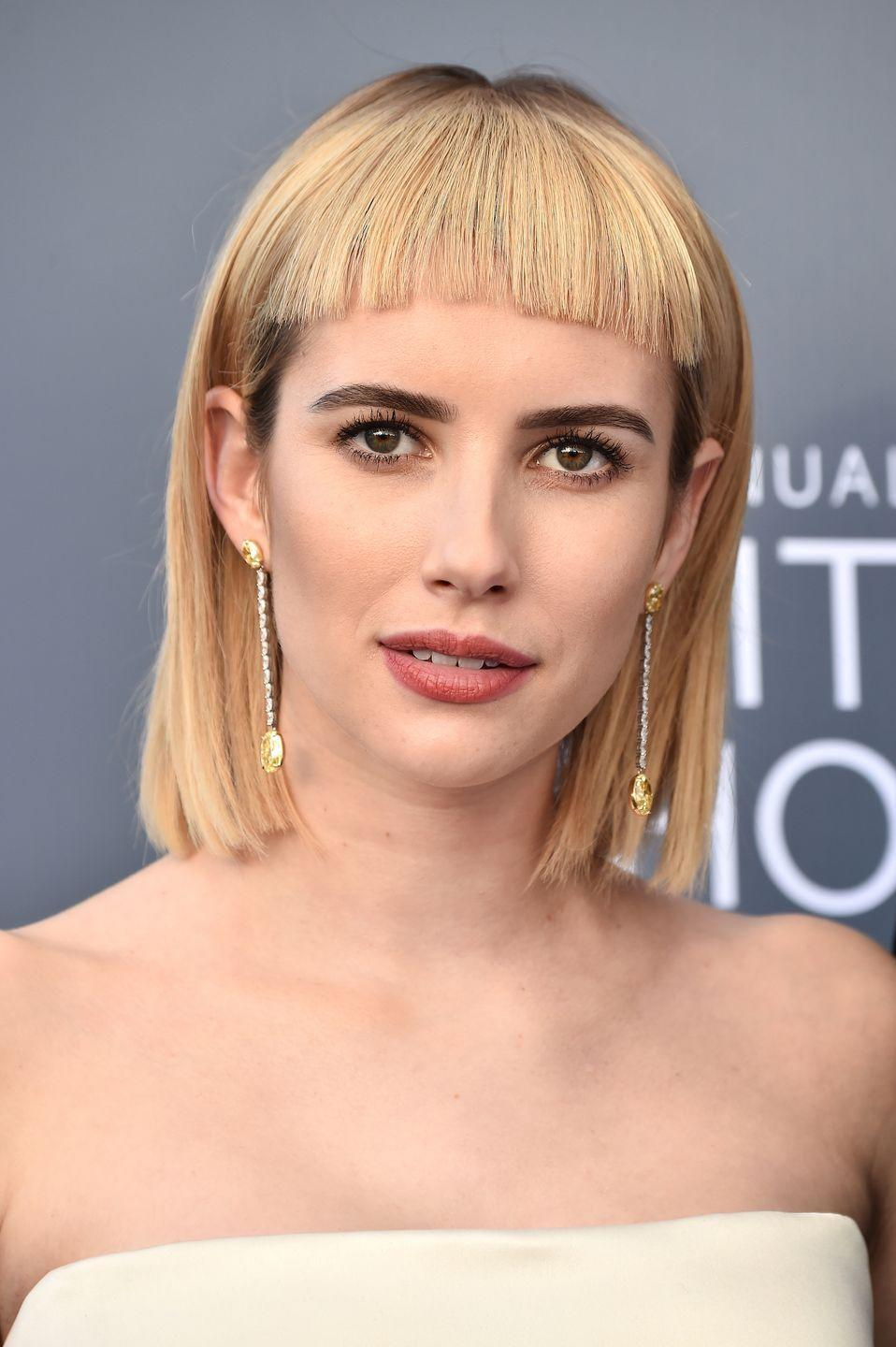 <p>These blunt bangs give your 'do a dramatic, stunning look, but just a warning: This perfectly straight style takes a lot of maintenance and frequent trims.</p>