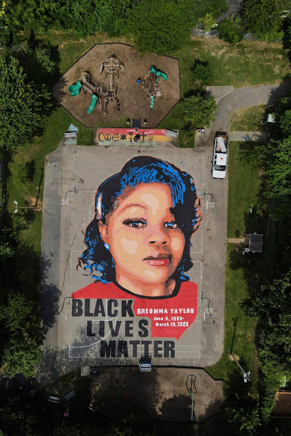 A mural depicting Breonna Taylor on July 6, 2020, in Annapolis, Maryland.