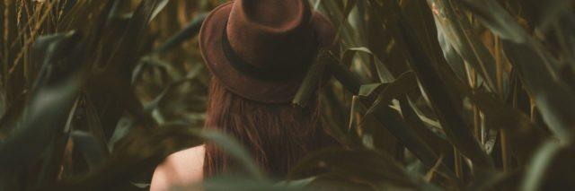 back of a woman in brown hat in the middle of a field with leaves around her