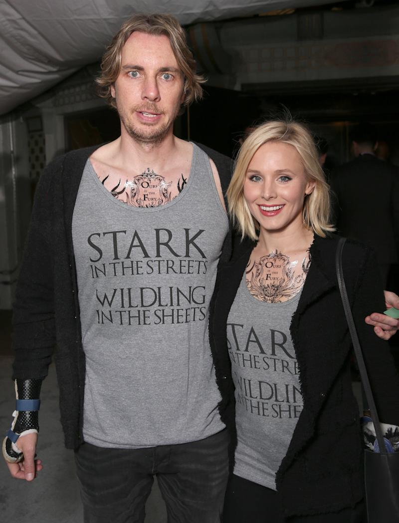 "Dax Shepard and Kristen Bell attend the premiere of ""Game Of Thrones"" Season 6. (Todd Williamson via Getty Images)"