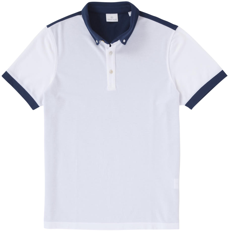 "<p>This shirt combines the look of a classic old-school cotton polo with a sleek cut and breathable, quick-drying cotton-poly-spandex fabric that will keep you cool even in the dog days of summer. <a rel=""nofollow"" href=""https://www.bradley-allan.com/collections/polos/products/color-block-polo-white-cadet"">$89</a> (Courtesy Bradley Allan) </p>"