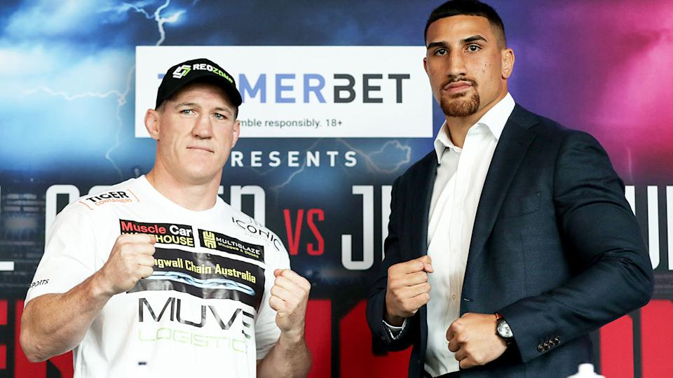 Pictured here, Paul Gallen and Justis Huni pose for photos before their boxing bout.